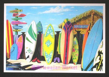 海とサーフィンの絵で有名な『スコット・ウェストモアランド』氏のポスターです。   とってもカラフルで色鮮やかなサーフボードが大人気♪