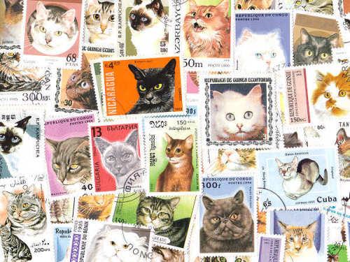 世界中から集めた「猫」の古い切手です。アンティークなコレクションとしてはもちろん、手作りアクセサリーやラッピング、コラージュ・スクラップブッキングなどのおしゃれアイテムとしても幅広く使えるので便利ですね。