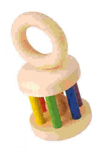 綺麗な色使いのドイツ製ラトルです。 塗料なども安心できるものを使用しています。