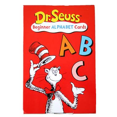 オーストラリアの子供たちにも人気のDr Seussシリーズ。そのアルファベットカードはポップでカラフルなイラストが魅力です。  それぞれのアルファベットから始まる言葉と絵柄が書かれており、大文字・小文字の区別も一緒に覚えられます。  英語をスタートしたばかりのお子様にはアルファベットと一緒に単語も覚えられる楽しいカードです。