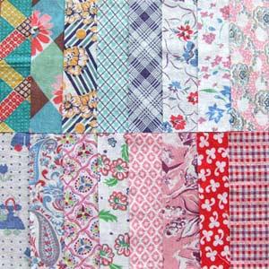 ヴィンテージフィードサックのカットクロス約15.0cm×約7.5cm 16枚入りです。  お花柄中心のとっても可愛いセットです。縫い合わせてシュシュなどをつくってみてはいかがですか?  フィードサックとは1930年代頃のアメリカで作られた飼料袋のことです。その生地はプリントがとても可愛いため、役目を終えた後も袋の縫い目をほどいて再利用されています。今もキルター達に愛されるヴィンテージファブリックです。  ※出来る限り状態の良い物を販売するようにしておりますが、汚れ・シミ・縫いあとがある場合がございます。ヴィンテージファブリックの味わいとして楽しんで頂けたなら幸いです。  その他フィードサックアソートございます。