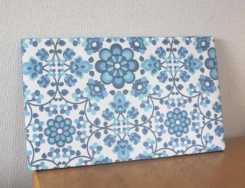 70年代の壁紙を使ったレトロ柄の壁掛けパネルです。 数が少なくなってきたブルー系のレトロフラワー柄です♪縁どりは水色になります。