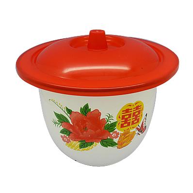 花柄が可愛い赤い蓋つきホーロー容器です。 インテリアとして飾っても可愛い一品です♪