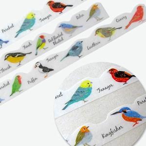 波形カットのおしゃれなマスキングテープ。 いろいろな種類の小鳥たちが描かれた可愛いデザイン。 スケジュール帳やメモ、スクラップ、封筒等 ちょっと貼るだけでオシャレなアレンジが楽しめます♪