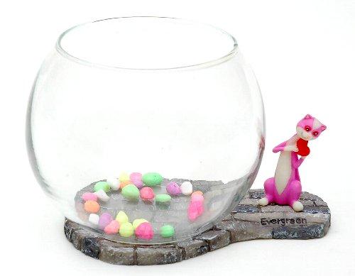 かわいいネコフィギュアが横に付いた水槽です。 魚を入れたり、観葉植物を育てたり楽しみ方は自由自在