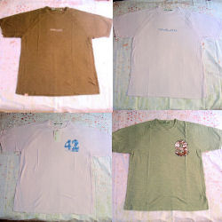 とってもお洒落なTシャツが勢ぞろい。大きめのサイズなので、ダボっと、着ていただけます。全て草木染めで優しいテイストで、しかも、さわり心地抜群です。
