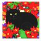 花に埋もれた黒猫のデスク・トップ・飾りタイル。壁飾りにもなるタイルです。