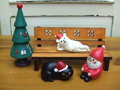このマッタリとした空気感。どれか1個抜けても、違うんですね。4つ揃えて、まったりクリスマスを楽しんでください。単品より少しお値段お安いですよ。(ウッドベンチは別売りです。)